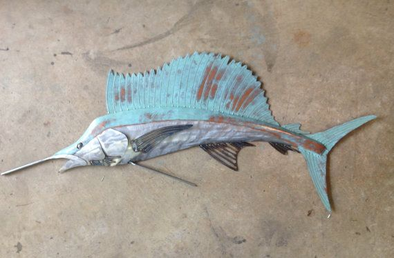 Sailfish metal wall art fish sculpture beach coastal for Fish metal wall art
