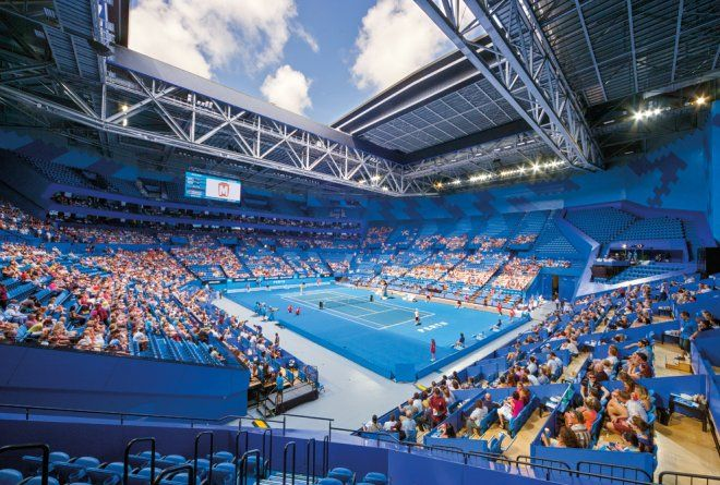 The striking blue bowl hosts the Hopman Cup