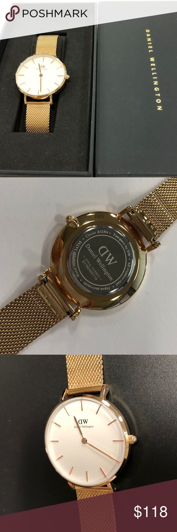 Daniel Wellington Classic Petite Melrose Watch 100% Authentic Gently used like new with box Daniel Wellington Classic Petite Melrose watch with white face dial. 32mm. Bought from Daniel Wellington online. Serial number 01190400114 Daniel Wellington Accessories Watches
