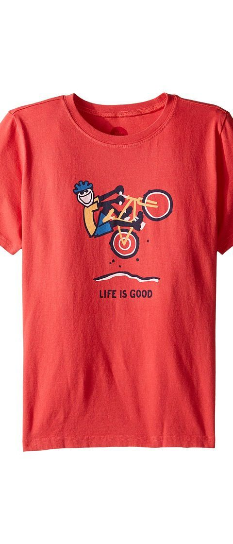 Life is good Kids Mountain Bike Tee (Little Kids/Big Kids) (Americana Red) Boy's T Shirt - Life is good Kids, Mountain Bike Tee (Little Kids/Big Kids), 48015-600, Apparel Top Shirt, T Shirt, Top, Apparel, Clothes Clothing, Gift, - Street Fashion And Style Ideas
