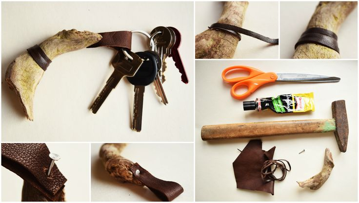 keychain made of driftwood and leather