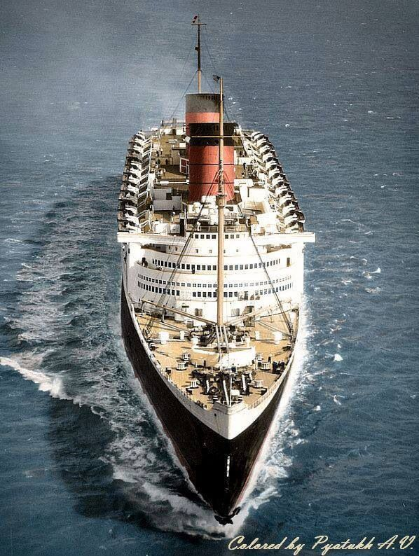 Vivat Regina: Commanding headline study of the RMS Queen Elizabeth. Note the similarities between her profile and that of the French Normandie.