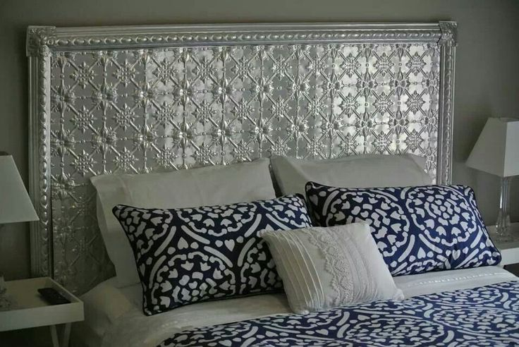 LOVE this headboard made from pressed tin panels. Could see it working over the top of our current headboard. http://www.pressedtinpanels.com/