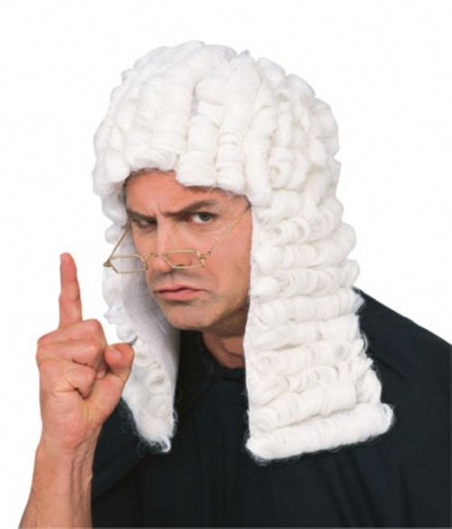 White Judge Wig - This is a humorous traditional judge wig. It has two panels on either side with attached curls. The cap portion covers the front and back of the head with matching horizontal winglet curls. It has netting on the inside with an elastic around the edge for a comfortable fit. Great for a judge costume. #yyc #costume #judge #wig