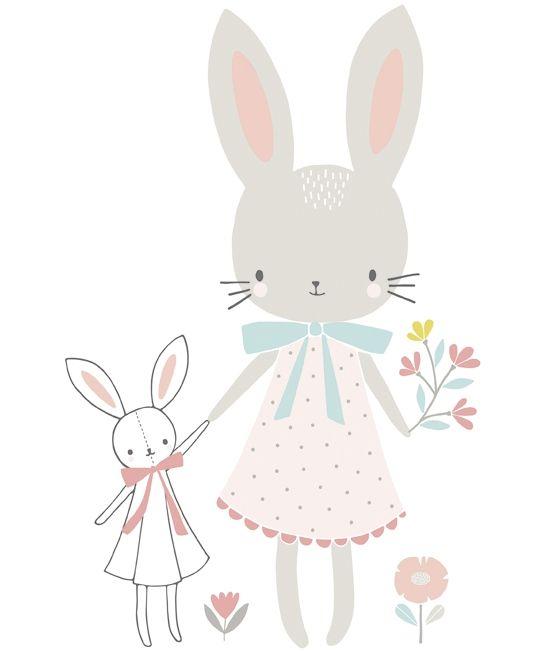 Sticker chambre d'enfant demoiselle lapin