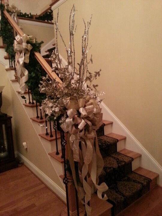 Christmas banister wreath seasonal holiday decor for Decorating your home for christmas pinterest