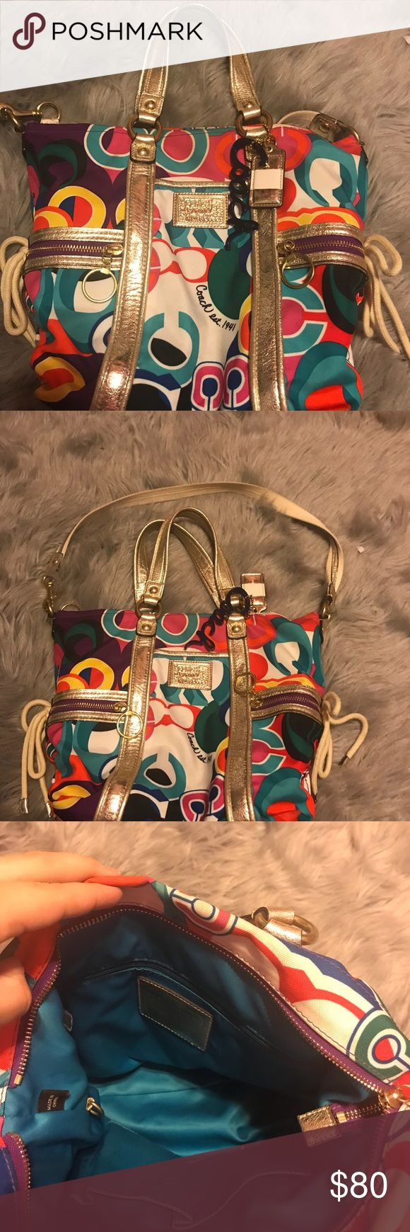 Coach poppy purse Coach poppy purse, re posh due to it not being big enough for my liking. I am not sure about the dimensions, has a small stain in the top corner (as pictured) has been used, but still in good condition. Open to offers. Coach Bags Crossbody Bags