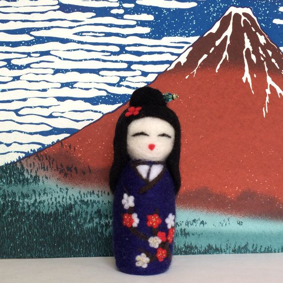 Emiko - Needle Felted Japanese Kokeshi Doll by SweetPeaDolls