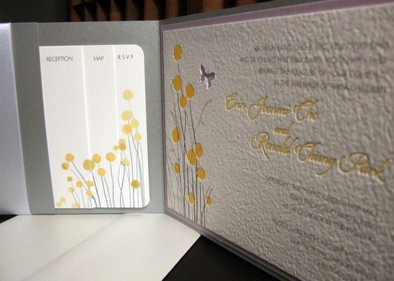 Letterpress - i love how the supplemental cards work together to create the same floral pattern on the invite