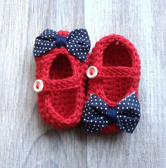 Nautical Red with Navy white Polka Dot Bow Tie Baby Girl Booties
