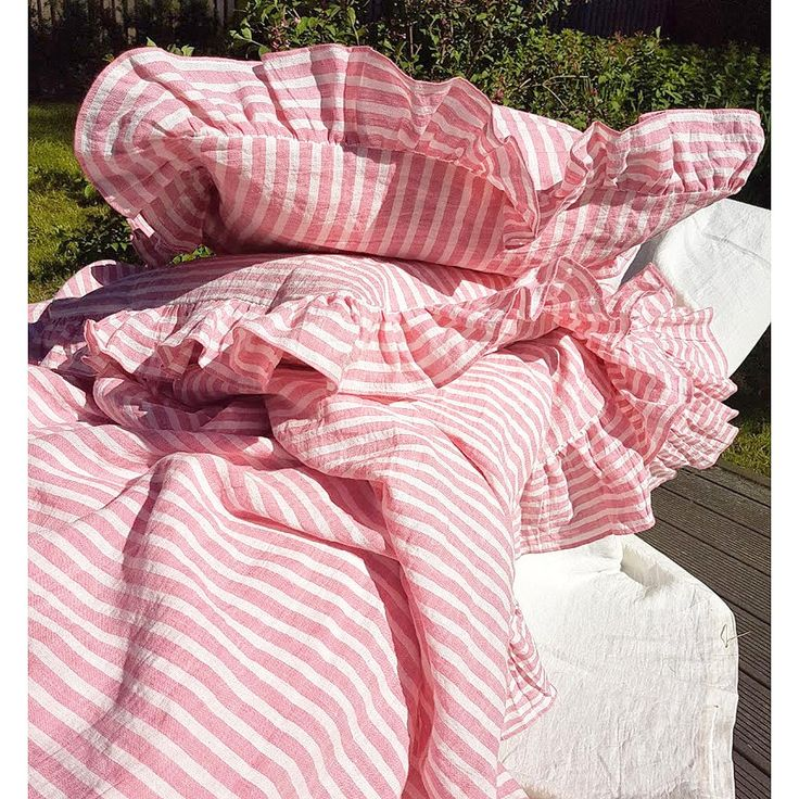 Pink linen pillow sham - ruffle pillowcase striped washed linen - standard, euro, King, body pillow case, chabby chic bedding, linen bedding by DejavuLinen on Etsy