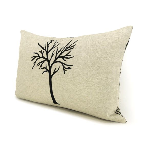 12x18 | Black and beige pillow cover | Nature print | Decorative throw pillow cover | Lumbar tree pillow cover with geometric pattern back