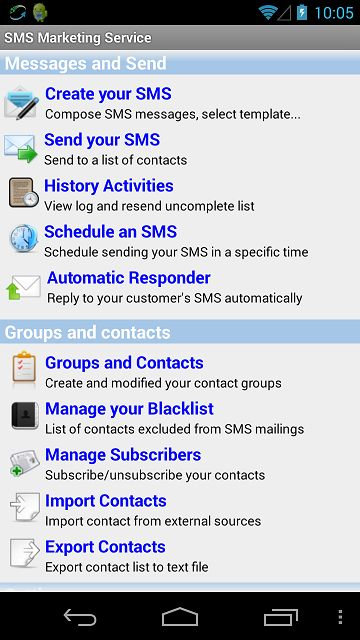 SMS Marketing Service is an android app, help you send out your bulk/group SMS by your device sim card or using cloud service at  https://play.google.com/store/apps/details?id=com.smsservicelite.moi