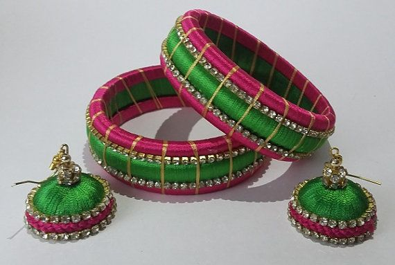 Handcrafted silk thread bangles with ring type by ShallWeStyle