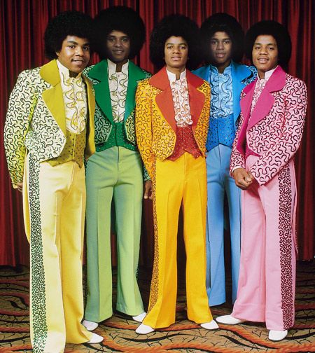 Jackson 5 in the colorful tuxedos.