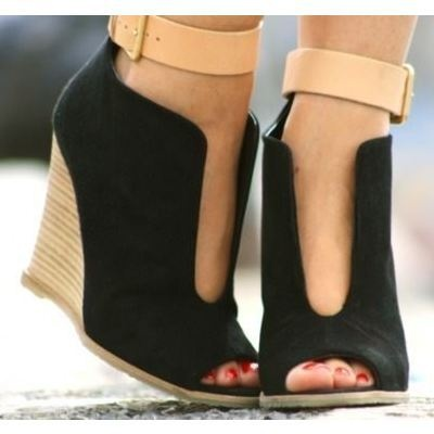 These are very different. I love: To, Fashion Shoes, Wedges Heels, Style, Cute Wedges, Closet, Ankle Straps, Cut Outs, Black Wedges