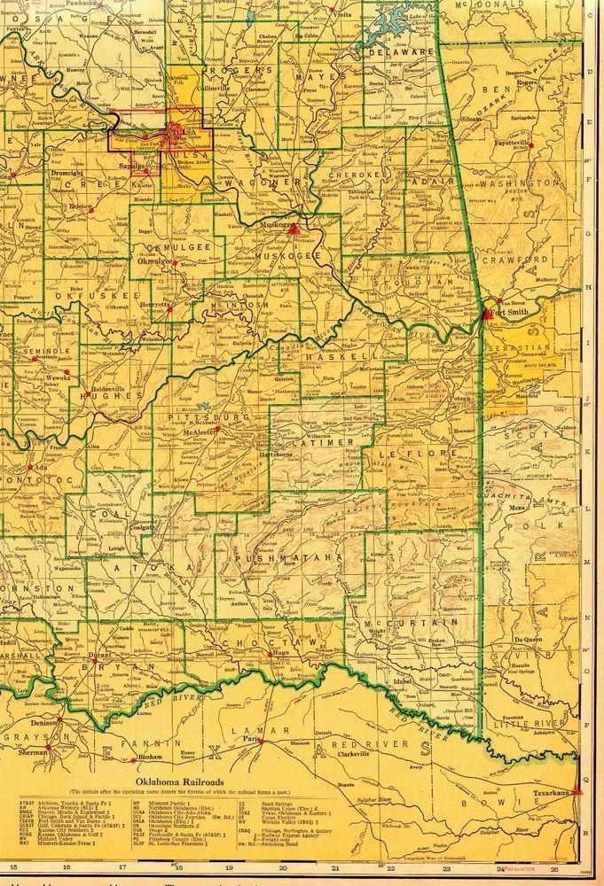 1943 Vintage OKLAHOMA State Map RAILROADS Antique Map of Oklahoma ...