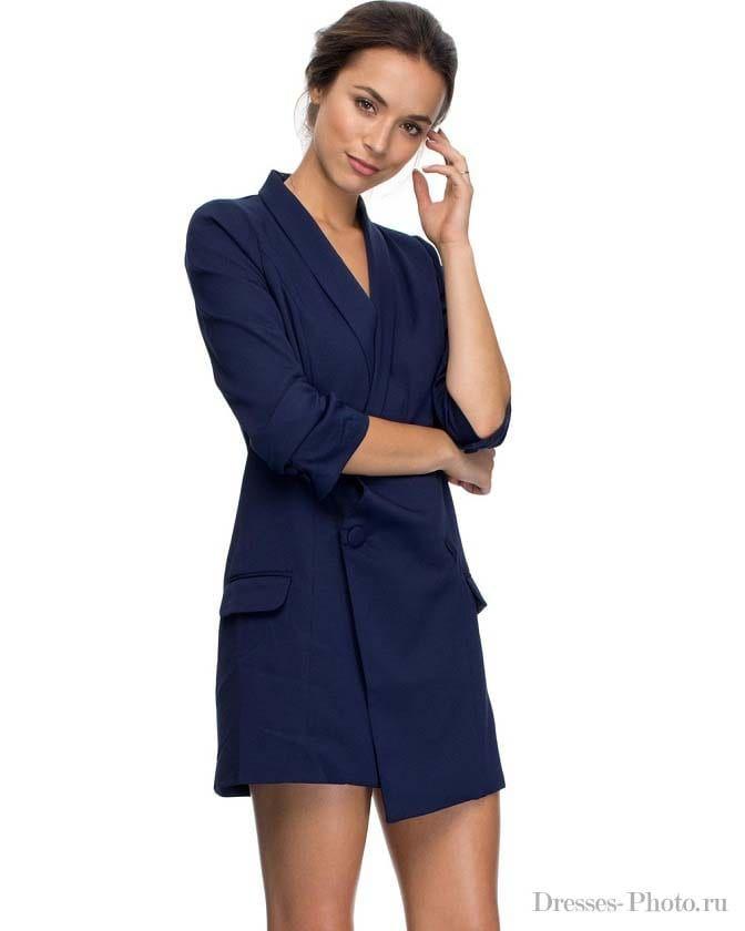 Синее платье с пиджаком фасоны фото