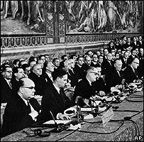 1957: The European Economic Community (EEC) or Common Market is an international organization created March 25 by the Treaty of Rome. Its aim is to bring about economic integration among its six founding members: Belgium, France, Italy, Luxembourg, the Netherlands, and West Germany.