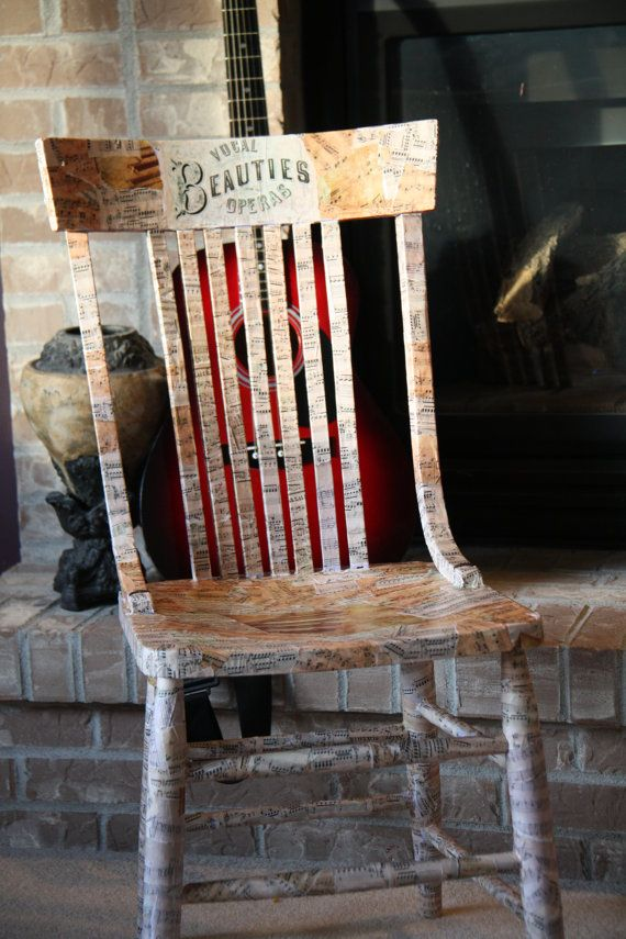 Vintage Wood Chair Decoupage with Vintage Sheet Music