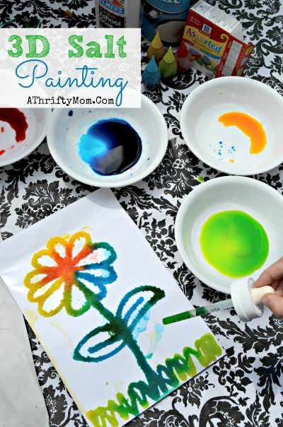 kids craft projects, 3d Salt Painting, perfect for kids of all ages preschool up to teens, Low cost art and craft projects