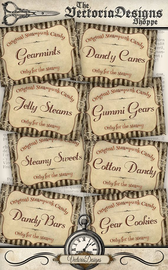 Steampunk Candy Labels labels printable paper by VectoriaDesigns