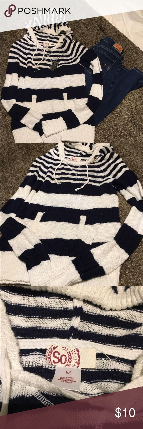 "Blue and White Hoodie Sweater by ""SO"" from Target Blue and White Hoodie Sweater By ""SO"" From Target💐long sleeves💐front pouch pocket 💐size Med💐bust 16""💐23 1/2"" long💐(PANTS AND JEWELRY ARE NOT FOR SALE!!)💐 SO from Target Tops Sweatshirts & Hoodies"