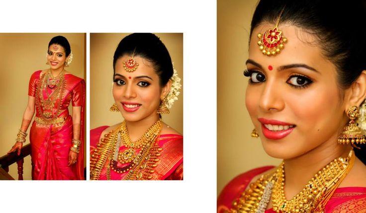 South Indian bride. Red Kanchipuram silk sari. Temple jewelry. Jhumki. Braid with fresh flowers. Tamil bride. Telugu bride. Kannada bride. Hindu bride.Malayalee bride.