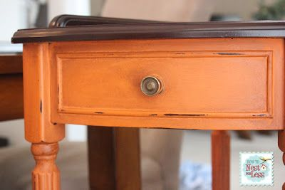 orange nightstand SO CUTE! paint color is Annie Sloan's Barcelona Orange