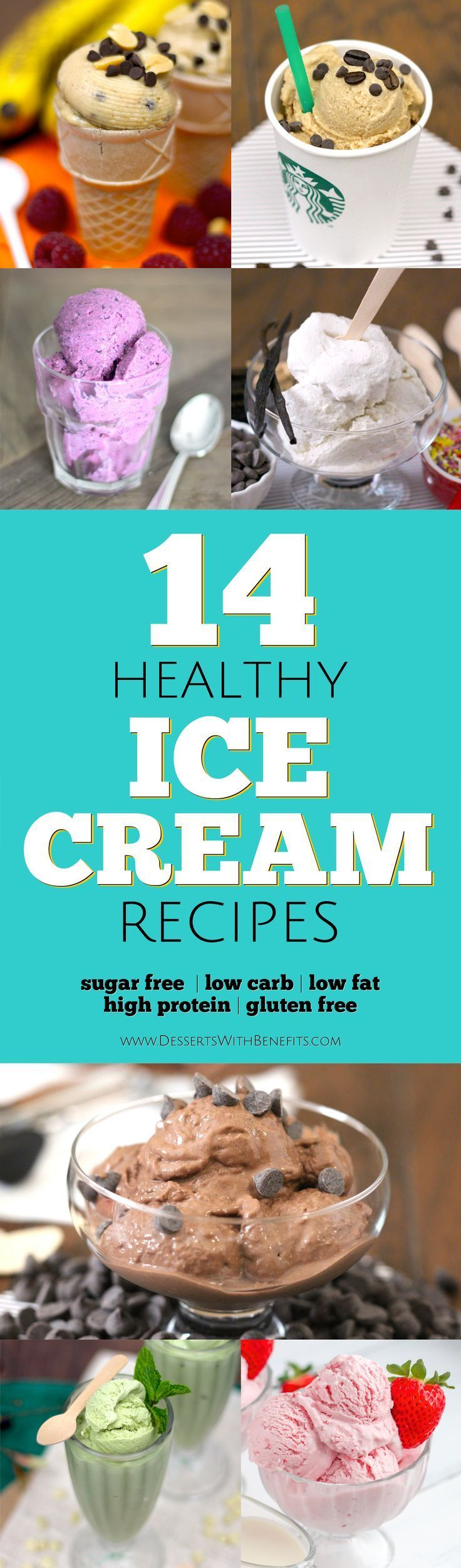 Beat the heat with these 14 HEALTHY Ice Cream recipes!  From vanilla and chocolate to red velvet cake and matcha green tea, you'll be sure to find the flavor for YOU.  These homemade ice creams are so sweet and creamy, it's hard to believe they're totally guilt-free.  These recipes are refined sugar free, low carb, low fat, and high protein, with some vegan options in there too!