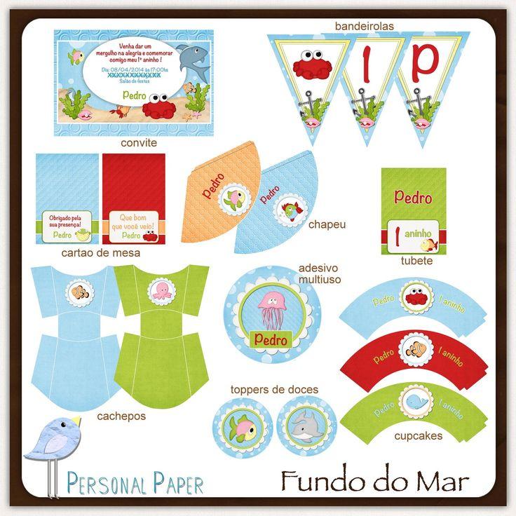 Fundo do Mar | Atelier Doces Mimos & Personal Paper | Elo7