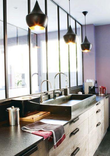 Le charme d'une verrière intérieure - Une cuisine refaite par un architecte - CôtéMaison.fr Kitchen