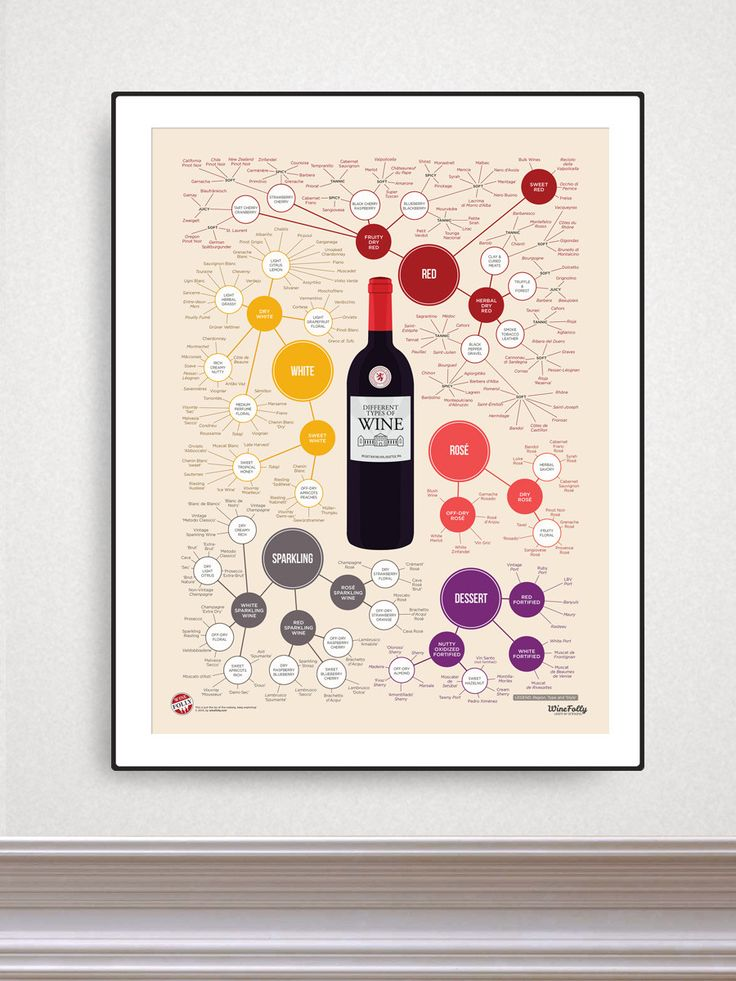 "Different Types of Wine 18"" x 24"" Poster 
