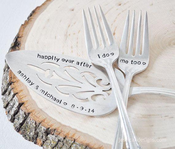 vintage wedding cake forks and server set