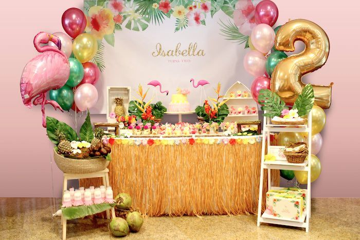 Party Display from a Tropical Hawaiian Flamingo Party via Kara's Party Ideas | KarasPartyIdeas.com (4)
