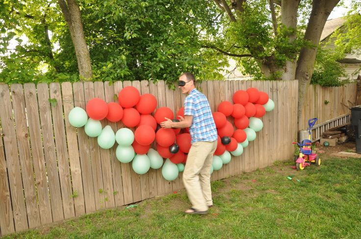 pin the seed on the watermelon    http://jwillowb.blogspot.com/2012/05/judahs-watermelon-party.html
