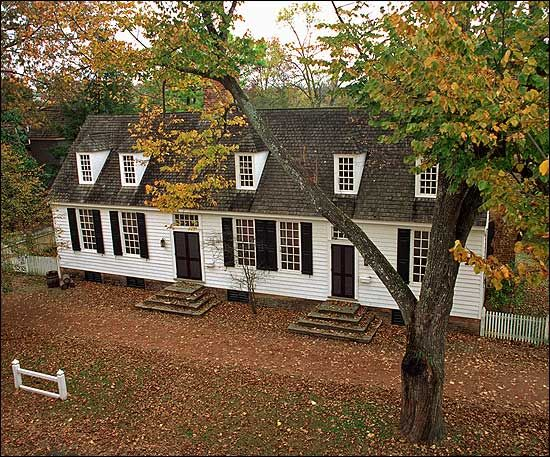 The John Blair House in Colonial Williamsburg's Historic Area. Part of the house dates to the early eighteenth century, when John Blair Jr.'s uncle, James Blair, was first president of the College of William and Mary.