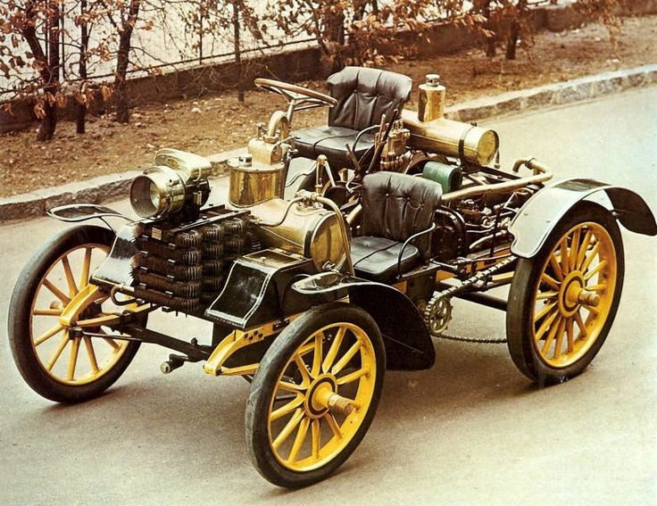 1899 Nesselforf 2 seater President - A coach and cart manufacturer that started in 1849 became Austro-Hungary's first automobile manufacturer in 1897 through Hugo Fischer and Baron von Liebig. The President was it's first car and this model is powered by a 5 hp Benz flat-twin engine w/ chain drive to the rear axle. The company changed its name to Tatra in 1919 and continued to make cars until 1999. Tatra then concentrated on truck manufacture which continues today.