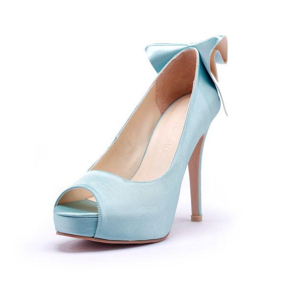 Tiffany Blue Peep Toe Wedding Heels with Back by ChristyNgShoes, $75.00