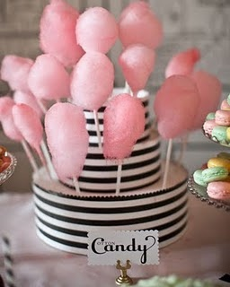 Mini cotton candy desert bar.  Table centerpiece & DIY party favors for kids & adults. Add variety of treats made to coordinate with your theme.