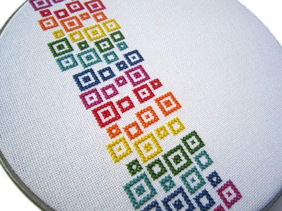 Confetti arco iris moderno punto de Cruz por wallwork en Etsy
