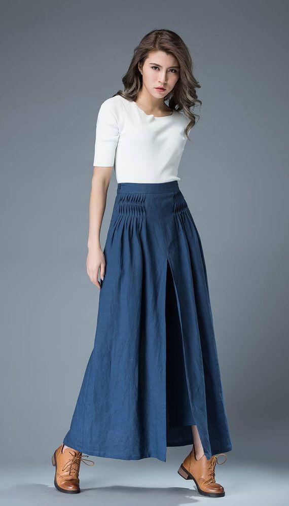 Blue Culottes pants Women Pants Loose fit pants Linen by YL1dress
