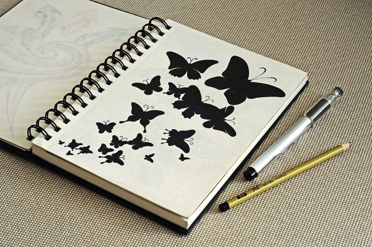 рисунок ручкой, графика, силуэт, бабочка, насекомое, sketch