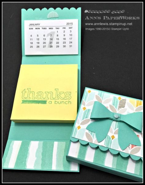Stampin' Up! Post-It Note Holder, Bow Builder Punch, Best Year Ever Designer Series Paper - Ann's PaperWorks - Ann Lewis, Brisbane