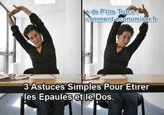 Longue journée au travail ? Voici des petits exercices pour vous aider à vous détendre les tensions et douleurs au niveau du dos et des épaules.