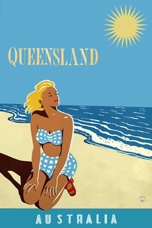 Queensland, Australia travel poster http://www.vintagevenus.com.au/products/vintage_poster_print-tv854