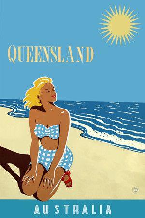 Queensland, Australia travel poster http://www.vintagevenus.com.au/products/vintage_poster_print-tv854