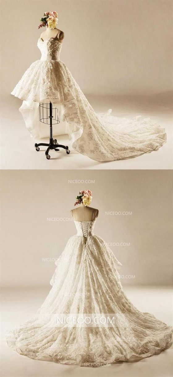 Strapless Open Back High Low Lace Train Dresses Wedding Dresses