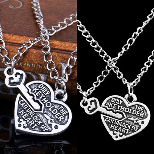 2016 New 1 Pair Love Heart Key Pendant Necklace Best Friends Lovers Couple Jewelry Charm 168WG07