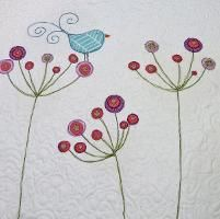 Bird, applique and free motion embroidery!